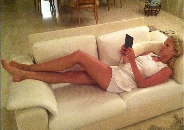 Staying in touch on the couch on vacation in Tel Aviv, Israel